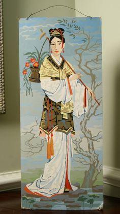 vintage geisha japanese woman paint by number 12x28 large. $28.00, via Etsy.