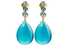 Blue Topaz & Cat's Eye Earrings Materials: 14-kt gold over brass/blue topaz/teal cat eye