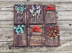 Mason Jar/Basket with Flowers String Art von Shop217Designs