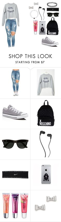 """Girl Power"" by ayannap ❤ liked on Polyvore featuring Converse, Moschino, Ray-Ban, Skullcandy, NIKE, Maybelline, Marc by Marc Jacobs, women's clothing, women and female"
