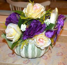 Flower Arrangement Home Decor Roses Silk Floral by creatingwithni
