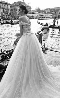Off-the-shoulder-embellished-wedding-dress-with-tulle-Inbal-Dror-2015-wedding-dress-collection