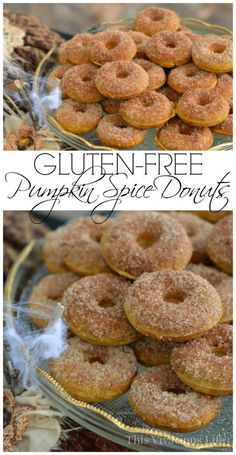 These gluten-free pumpkin spice donuts are so delicious for Halloween. | Gluten-Free Pumpkin Spice Donuts | gluten-free pumpkin spice recipes | gluten-free donut recipes | gluten-free fall recipes | gluten-free desserts | pumpkin spice recipe ideas | homemade gluten-free recipes || This Vivacious Life Gluten Free Donuts, Gluten Free Sweets, Gluten Free Baking, Gluten Free Pumpkin Donut Recipe, Gluten Free Recipes For Breakfast, Best Gluten Free Recipes, Celiac Recipes, Keto Recipes, Healthy Recipes