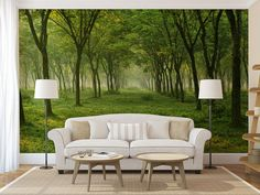 Green Forest MURAL, self adhesive peel and stick wall mural, wallpaper, wall sticker