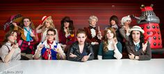 Eleven ladies cosplaying the eleven Doctors