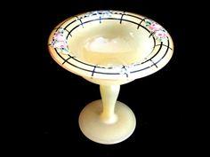 Art Deco Floral Design Yellow Glass Stemmed Compote Bowl #WestmorelandGlassCo