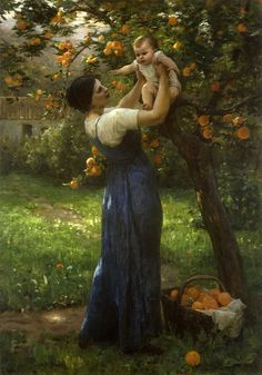 """Virginie Demont-Breton: """"Mother and child in an orange grove"""", oil on canvas, Dimensions102.2 × 69.8 cm (40.2 × 27.5 in), Private collection."""
