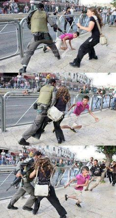 Literally wow. An Israeli woman protects a Palestinian boy from an Israeli soldier.
