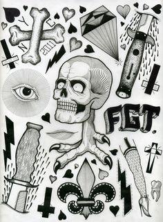 tattoo flash sheets by david cook, via Behance