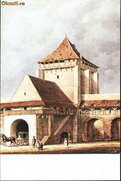 Carte postala ilustrata Poarta Burger - Sibiu, dinspre oras foto