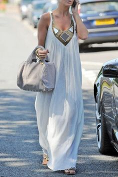 Scoop Neck A-Line White Maxi Dress