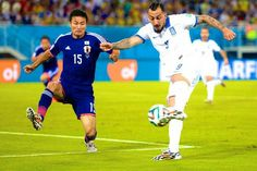 Japan 0 Greece 0 in June 2014 in Natal. Konstantinos Mitroglou shoots for goal in Group C #WorldCupFinals