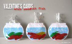 Printable Valentine's Cards Swedish Fish Bowls by PBJandJ on Etsy. , via Etsy. Kinder Valentines, My Funny Valentine, Valentine Day Crafts, Holiday Crafts, Holiday Fun, Valentine Ideas, Printable Valentine, Printable Fish, Homemade Valentines