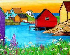 Nova Scotia Folk Art, Shelagh Duffett Prints & Painting by AliceinParis Art Carte, Summer Solstice, Naive Art, Whimsical Art, East Coast, Painting Inspiration, Home Art, Find Art, Watercolor Art
