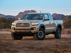 Want a camera mount to come standard with your next truck? The 2016 Toyota Tacoma is what you're looking for. Toyota has announced that the upcoming truck will come standard with a GoPro camera mount — a first for the auto industry. Toyota Tacoma 4x4, Toyota Tacoma Price, Tacoma Truck, 2016 Tacoma, Suv Trucks, Toyota Trucks, Toyota Cars, Pickup Trucks, Best Gas Mileage