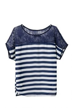 Stripes Printing Lace Splicing O-neck Short Sleeves Cotton T-shirt