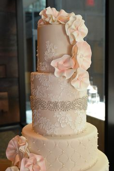 Beautiful #Lace and quilting with ruffle #Flowers #Wedding #Cake #Peach tones! We love and had to share! Great #CakeDecorating!