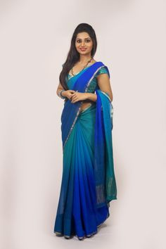 Buy Online Designer Printed Chiffon Sarees with nice color in India.