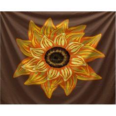 Simply Daisy 80 inch x 60 inch El Girasol Feliz Floral Print Tapestry, Brown