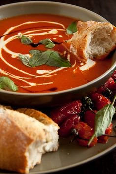Roast Tomato and Basil Soup- Added more sugar, basil, & red pepper flakes. Served w/ grille Moz, tomato, & basil pesto! Very yummy! Soup Recipes, Great Recipes, Vegetarian Recipes, Cooking Recipes, Favorite Recipes, Healthy Recipes, Cookbook Recipes, Cooking Tips, Recipies