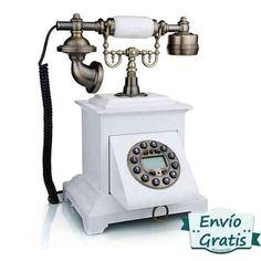 Telefonos #retro que esconden teclado analógico. pantalla digital, funcion de rellamada y registro de llamadas. Envío gratis  http://www.vasderetro.com/telefonos-retro #vintage #decoracion