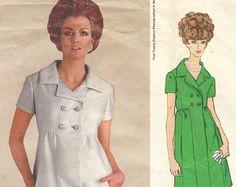 années 1960 Traina teal Womens One Piece robe Empire taille patron de couture Vogue 1985 taille 12 buste 34 Vogue Vintage Americana modèle