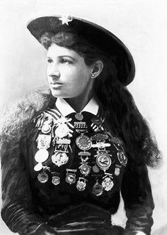 """Annie Oakley """"Aim at a high mark and you will hit it. No, not the first time, not the second time and maybe not the third. But keep on aiming and keep on shooting for only practice will make you perfect. Finally you'll hit the bull's-eye of success."""""""