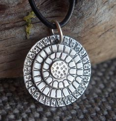 Artisan Sterling silver necklace - Mandala circles (with leather or waxed cotton cord)