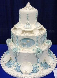 Beach themed wedding cake - way too beachy theme for me, but so intricate, beautifully done! Love it right colors Nautical Wedding Cakes, Nautical Cake, Themed Wedding Cakes, Themed Cakes, Amazing Wedding Cakes, Elegant Wedding Cakes, Amazing Cakes, Fondant Cakes, Cupcake Cakes