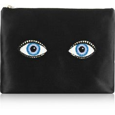 Charlotte Olympia Glance Alot embroidered satin pouch (4,575 MXN) ❤ liked on Polyvore featuring bags, handbags, clutches, accessories, black, fillers, embroidered handbag, charlotte olympia clutches, satin purse and satin pouch