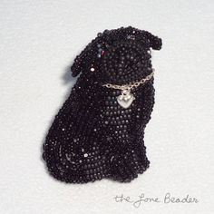 Ready to ship: PUG LOVE beaded dog pin pendant w/ sterling by thelonebeader
