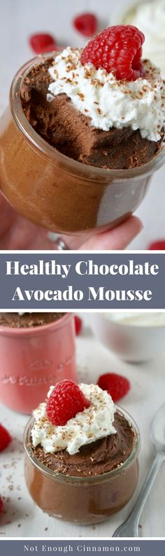 """A rich and silky healthy chocolate mousse made with a """"secret"""" ingredient – avocado. Super easy to make and perfect for Valentine's Day or date night! Vegan + refined sugar free."""