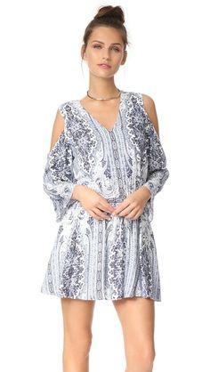 alice + olivia Jolene Cold Shoulder Smocked Waist Dress