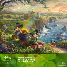 Introducing the fourth release in the Passport to Adventure series by Thomas Kinkade Studios just in-time for Saint Patrick's Day! This time Mickey and friends find themselves exploring medieval castles, hiking over lush green hillsides, and searching for gold in Mickey and Minnie in Ireland. #Disney #ThomasKinkade #SaintPatricksDay #Ireland