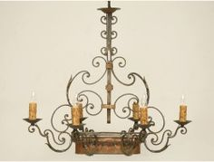 Vintage French Scrolled Iron Chandelier