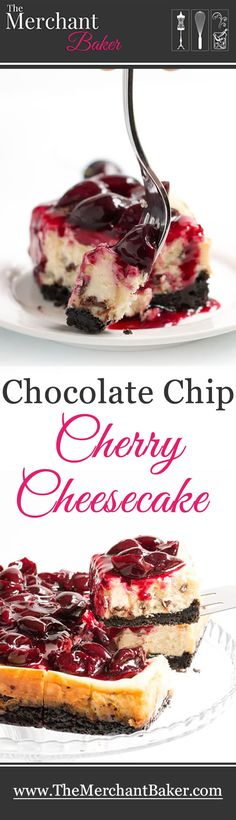 A fresh sweet cherry sauce tops this easy to make cheesecake. A super fudgy cookie crust takes it over the top! Remember that Fresh Sweet Cherry Sauce that I posted last week?the one that would be great on ice Brownie Desserts, Just Desserts, Delicious Desserts, Yummy Food, How To Make Cheesecake, Cheesecake Recipes, Coconut Dessert, Cherry Sauce, Bakers Chocolate