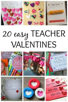 Here are 20 sweet and easy teacher valentines to make with the kids. They're perfect for last minute Valentine's Day gifts for the teachers in your kids' lives. These inexpensive and easy gifts are perfect for families on a budget. Teacher Valentine, Valentine Day Crafts, Valentine Decorations, Be My Valentine, Teacher Gifts, Kids Valentines, Valentine Ideas, Sweet And Easy, Valentine's Day Diy