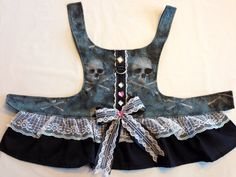 Halloween style medium size dog harness dress with matching bows and gems also has D-ring for leash attachment and velcro closures by MuttTees on Etsy