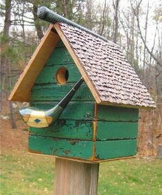 221D recycled bird houses - handmade birdhouse with golf club head for perch
