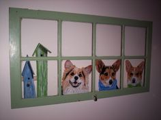 Corgi portraits reverse painted on an old window. WANT WANT WANT!