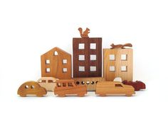 City Toy Set Waldorf Wooden Miniature 11 by OohLookItsARabbit