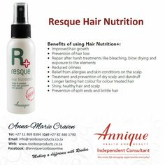 Hair Nutrition #annique #rooibosproducts Hair Dandruff, Dry Scalp, Blow Dry, Hair Loss, Hair Growth, Allergies, Conditioner, Nutrition, Products