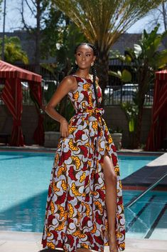 SOSA - Made of Authentic Ankara Wax Print Maxi Dress with Pockets and BeltHigh Front Slit Loose Fit True to Size Model is Wearing a Size XS African Fashion Ankara, Latest African Fashion Dresses, African Print Fashion, Africa Fashion, African Prints, African Style, African Fabric, Ankara Dress Designs, Ankara Maxi Dress