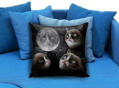 Grumpy cat funny face in moon Pillow Case #pillowcase #pillow #cover #pillowcover #printed #modernpillowcase #decorative #throwpillowcase
