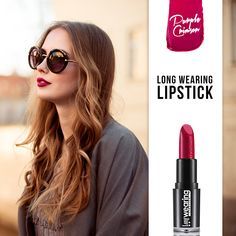 Your elegant look lasts the whole day with Long Wearing Lipstick! #makeup #lipstick #purplelips #flormar