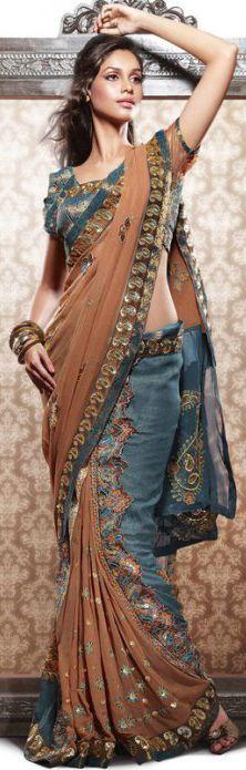 Embroidered georgette saree
