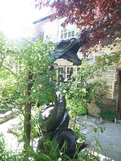 a dragon sculpture in Glastonbury