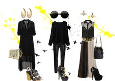 A fashion look from October 2012 featuring high-low dresses, over sized sweaters and button-down shirts. Browse and shop related looks. Fashion Sets, Thalia, Shoe Bag, Polyvore, Stuff To Buy, Shopping, Clothes, Collection, Black