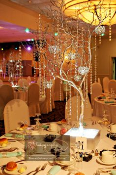 White crystal wedding centerpieces