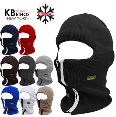 Zipper Radar Ski Mask Full Face Visor Winter Beanie Hat Cap Mens Women Balaclava #KBETHOS